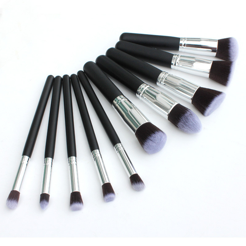 Black Silver Color Professional Makeup Brush Set  10 Piece/Set