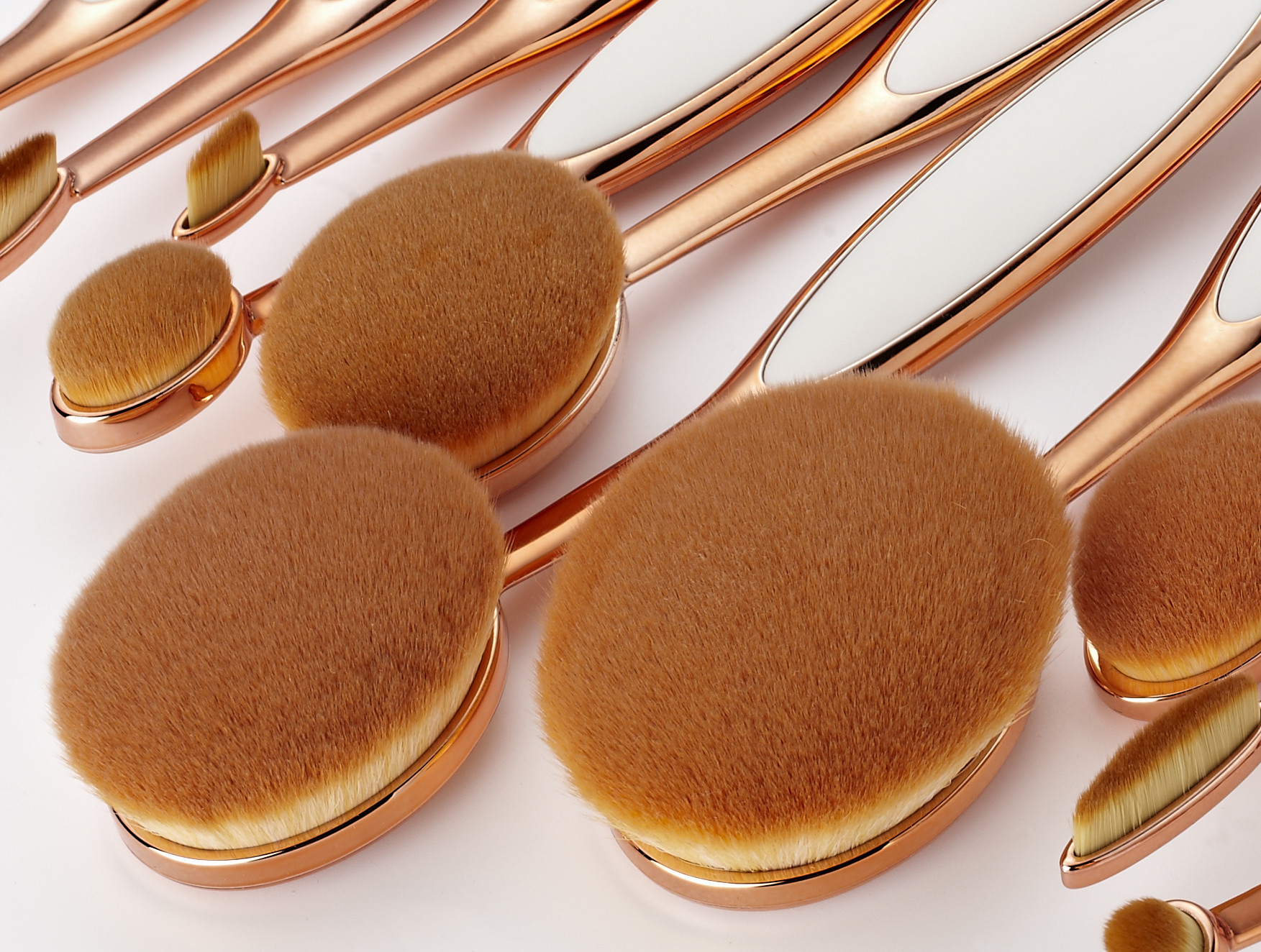 10 Pcs Tooth Cosmetic Makeup Brushes Professional , Oval Beauty Brush Set