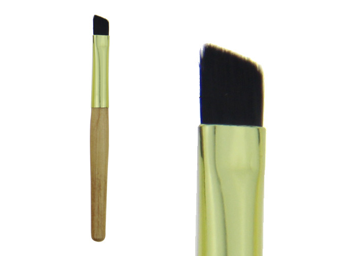 Bamboo Angled Eyebrow Makeup Brush With Different Colors / Wood Handle
