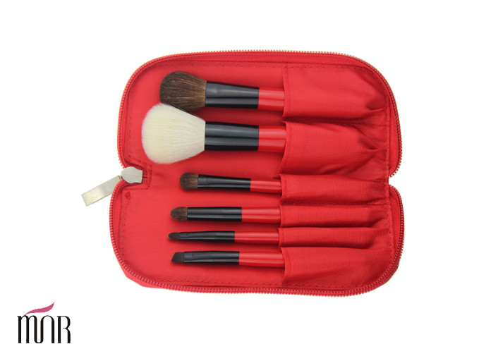 Goat Hair Benefit Brush Set Makeup Brush Cylinder Red Wooden Handle